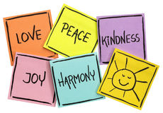 Amor, paz, bondade, alegria e harmonia imagem de stock royalty free