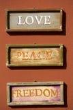 Amor, paz, libertad Foto de archivo libre de regalías