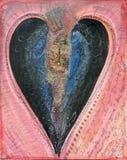 Amor pintado a mano del ejemplo del corazón negro que rompe crisis del divorcio que parte foto de archivo libre de regalías