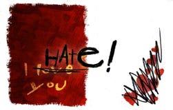 Amor que da vuelta a la tarjeta del odio Imagen de archivo libre de regalías