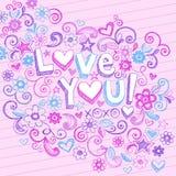 Amor que esboçado abstrato Hand-Drawn você Doodles ilustração stock