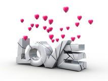Amor rachado das inscrição com corações do voo Foto de Stock Royalty Free