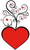 Amor rojo de la tarjeta del día de San Valentín de Swirly Imágenes de archivo libres de regalías