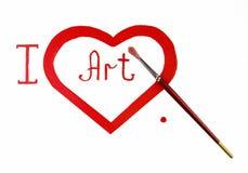 Amor rojo del corazón. Dolor del aceite del arte (acryl) Imagen de archivo