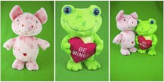 Amor rosado de la tarjeta del día de San Valentín del fondo de la rana verde del cerdo del collage Imagenes de archivo