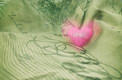 Amor rosado del corazón Imagen de archivo