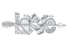 Amor Rotulação tirada mão Dia feliz do `s do Valentim Coração com seta Estilo a mão livre doodle esboço Pintura Imagem de Stock Royalty Free