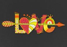 Amor Rotulação tirada mão Dia feliz do `s do Valentim Coração com seta Estilo a mão livre doodle Feriado em fevereiro Imagens de Stock