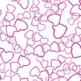 Amor sem emenda do teste padrão de dois corações que envolve a textura Imagem de Stock