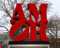 The Amor sign in Philadelphia. Mimics the iconic Love sign, which is so famous Stock Photography