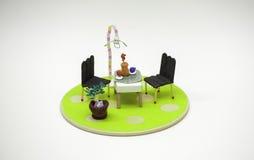 Amor simples moderno dos pares do estilo da forma da mobília Imagens de Stock Royalty Free