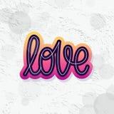 Amor Sola palabra Texto moderno de la caligrafía del monoline Elemento para Valentine Day feliz Ilustración del vector Fotografía de archivo libre de regalías