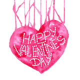 Amor Tarjeta de felicitación feliz del día de tarjeta del día de San Valentín Corazón rojo de la acuarela en el fondo blanco Elem Foto de archivo libre de regalías