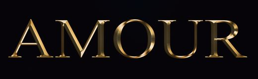 Amor text made from in gold on black background. Shiny festive party Gold font. stock illustration