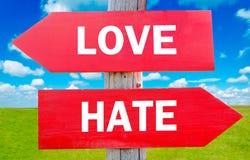 Amor u odio Imágenes de archivo libres de regalías