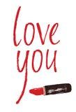 Amor usted diseña la tarjeta con un lápiz labial rojo Imagenes de archivo