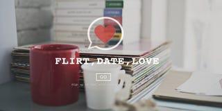 Amor Valentine Romance Heart Passion Concept da data da namoradeira Fotos de Stock Royalty Free