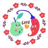Amor vegetal el día de tarjeta del día de San Valentín stock de ilustración