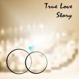 Amor verdadeiro com dois anéis de casamentos Fotografia de Stock