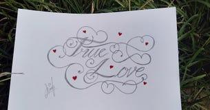 Amor verdadero, letras, dibujo, arte, ilustraciones foto de archivo