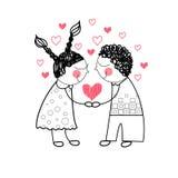 Amor vermelho da forma do coração dos pares que guarda as mãos que tiram a linha simples Fotografia de Stock Royalty Free