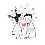 Amor vermelho da forma do coração dos pares que guarda as mãos que tiram a linha simples Imagens de Stock Royalty Free