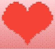 Amor vermelho do fundo do coração da serra de vaivém do enigma da parte Foto de Stock