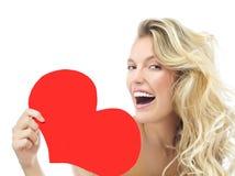 Amor vermelho do ` s do Valentim do coração da mulher da beleza imagem de stock royalty free