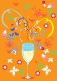 Amor, vidrio, vino y fondo butiful Stock de ilustración