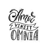 Amor Vinsit Omnia - latin phrase means Love Conquers All. Hand drawn inspirational vector quote for prints, posters, t-shirts. Illustration isolated on white royalty free illustration