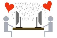 Amor virtual - ilustração Foto de Stock Royalty Free