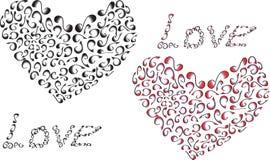 Amor y corazón de la inscripción de pequeños elementos Imágenes de archivo libres de regalías