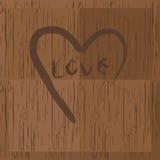 Amor y corazón en la madera stock de ilustración