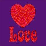 Amor y corazón en remolinos maravillosos stock de ilustración
