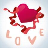 Amor y corazón tarjeta de la tarjeta del día de San Valentín con un corazón rojo Foto de archivo