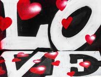 Amor y corazones de la pintura de espray fotografía de archivo