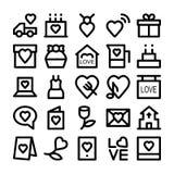 Amor y iconos coloreados romance 2 del vector Imágenes de archivo libres de regalías