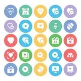 Amor y iconos coloreados romance 4 del vector Imagen de archivo