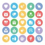 Amor y iconos coloreados romance 1 del vector Imagenes de archivo