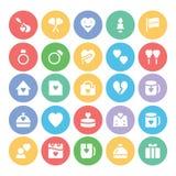 Amor y iconos coloreados romance 6 del vector Fotografía de archivo libre de regalías