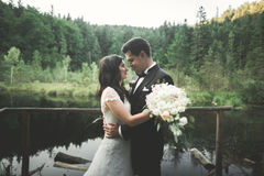 Amor y pasión - beso de la pareja joven casada de la boda cerca del lago Fotos de archivo libres de regalías