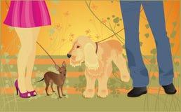 Amor y perros de la tarjeta del vector Fotos de archivo