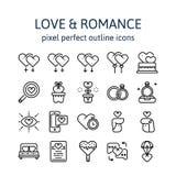AMOR Y ROMANCE: Iconos del esquema, pictograma y colección del símbolo imagenes de archivo