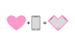Amor y teléfono Diseño fantástico del teléfono del concepto para los amantes y el ro Foto de archivo libre de regalías