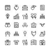 Amor y Valentine Line Vector Icons 10 Imágenes de archivo libres de regalías