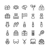 Amor y Valentine Line Vector Icons 15 Fotos de archivo