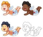 Amor-Zeichentrickfilm-Figur-Fliegen Stockfotos