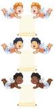 Amor-Zeichentrickfilm-Figur mit Mitteilung Stockbilder