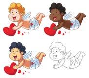 Amor-Zeichentrickfilm-Figur mit rotem Herzen Lizenzfreie Stockfotografie