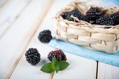 Amoras-pretas frescas na cesta na mesa de cozinha Fotografia de Stock Royalty Free